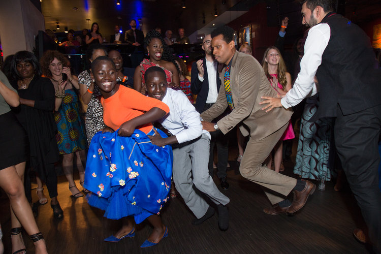 Madina Nalwanga and Martin Kabanza  dances with Disney's Tendo Nagenda dance at the U.S. premiere of Disney's  Queen of Katwe at the El Capitan Theatre in Hollywood, CA on Tuesday, September 20, 2016.  The film, starring David Oyelowo, Oscar winner Lupita NyongÕo and newcomer Madina Nalwanga, is directed by Mira Nair and opens in U.S. theaters in limited release on September 23, expanding wide September 30, 2016...(Photo: Alex J. Berliner/ABImages)